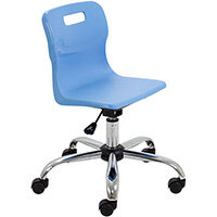 Titan Swivel Junior Classroom Chair with Castors 365-435mm Seat Height (Ages: 6-11 Years) Sky Blue T30-CB - 5 Year Guarantee