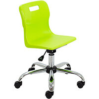 Titan Swivel Junior Classroom Chair with Castors 365-435mm Seat Height (Ages: 6-11 Years) Lime T30-L - 5 Year Guarantee