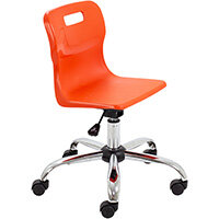 Titan Swivel Junior Classroom Chair with Castors 365-435mm Seat Height (Ages: 6-11 Years) Orange T30-O - 5 Year Guarantee