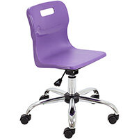 Titan Swivel Junior Classroom Chair with Castors 365-435mm Seat Height (Ages: 6-11 Years) Purple T30-P - 5 Year Guarantee
