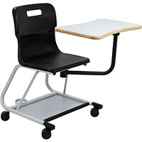 Titan Teach Chair with Writing Tablet 470mm Seat Height (Ages: 14+ Years) Black T300-BK - 5 Year Guarantee