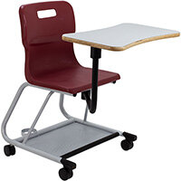 Titan Teach Chair with Writing Tablet 470mm Seat Height (Ages: 14+ Years) Burgundy T300-BU - 5 Year Guarantee
