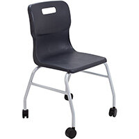 Titan Move 4 Leg Chair with Castors 470mm Seat Height (Ages: 14+ Years) Charcoal T301-C - 5 Year Guarantee