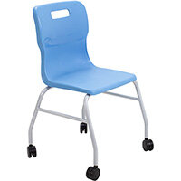 Titan Move 4 Leg Chair with Castors 470mm Seat Height (Ages: 14+ Years) Sky Blue T301-CB - 5 Year Guarantee