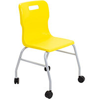 Titan Move 4 Leg Chair with Castors 470mm Seat Height (Ages: 14+ Years) Yellow T301-Y - 5 Year Guarantee