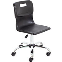 Titan Swivel Senior Classroom Chair with Castors 435-525mm Seat Height (Ages: 11+ Years) Black T35-BK - 5 Year Guarantee