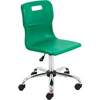 Titan Swivel Senior Classroom Chair with Castors 435-525mm Seat Height (Ages: 11+ Years) Green T35-GN - 5 Year Guarantee