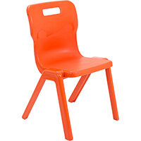 Titan One Piece Classroom Chair Size 5 430mm Seat Height (Ages: 11-14 Years) Orange T5-O - 20 Year Guarantee