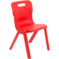 Titan One Piece Classroom Chair Size 5 430mm Seat Height (Ages: 11-14 Years) Red T5-R - 20 Year Guarantee