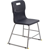 Titan High Classroom Stool with Backrest Size 3 445mm Seat Height (Ages: 6-8 Years) Polly Lipped Seat with Skid Base Charcoal T60-C - 5 Year Guarantee