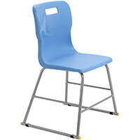 Titan High Classroom Stool with Backrest Size 3 445mm Seat Height (Ages: 6-8 Years) Polly Lipped Seat with Skid Base Sky Blue T60-CB - 5 Year Guarantee