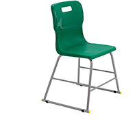 Titan High Classroom Stool with Backrest Size 3 445mm Seat Height (Ages: 6-8 Years) Polly Lipped Seat with Skid Base Green T60-GN - 5 Year Guarantee