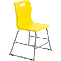 Titan High Classroom Stool with Backrest Size 3 445mm Seat Height (Ages: 6-8 Years) Polly Lipped Seat with Skid Base Yellow T60-Y - 5 Year Guarantee