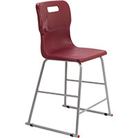 Titan High Classroom Stool with Backrest Size 4 560mm Seat Height (Ages: 8-11 Years) Polly Lipped Seat with Skid Base Burgundy T61-BU - 5 Year Guarantee