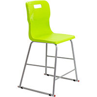 Titan High Classroom Stool with Backrest Size 4 560mm Seat Height (Ages: 8-11 Years) Polly Lipped Seat with Skid Base Lime T61-L - 5 Year Guarantee