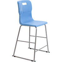 Titan High Classroom Stool with Backrest Size 5 610mm Seat Height (Ages: 11-14 Years) Polly Lipped Seat with Skid Base Sky Blue T62-CB - 5 Year Guarantee
