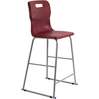 Titan High Classroom Stool with Backrest Size 6 685mm Seat Height (Ages: 14+ Years) Polly Lipped Seat with Skid Base Burgundy T63-BU - 5 Year Guarantee