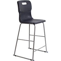 Titan High Classroom Stool with Backrest Size 6 685mm Seat Height (Ages: 14+ Years) Polly Lipped Seat with Skid Base Charcoal T63-C - 5 Year Guarantee