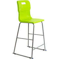 Titan High Classroom Stool with Backrest Size 6 685mm Seat Height (Ages: 14+ Years) Polly Lipped Seat with Skid Base Lime T63-L - 5 Year Guarantee