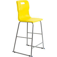 Titan High Classroom Stool with Backrest Size 6 685mm Seat Height (Ages: 14+ Years) Polly Lipped Seat with Skid Base Yellow T63-Y - 5 Year Guarantee