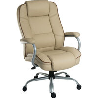 Goliath Duo Heavy Duty Bonded Leather Faced Executive Office Chair In Cream - Weight Tolerance: 170kg
