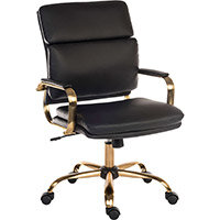 Vintage Style Executive Office Chair With Black Leather Look Upholstery & Brass Effect Frame