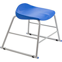 Titan High Backless Classroom Stool Size 2 395mm Seat Height (Ages: 4-6 Years) Polly Lipped Seat with Skid Base Blue T89-B - 5 Year Guarantee