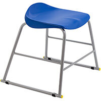 Titan High Backless Classroom Stool Size 3 445mm Seat Height (Ages: 6-8 Years) Polly Lipped Seat with Skid Base Blue T90-B - 5 Year Guarantee