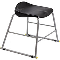 Titan High Backless Classroom Stool Size 3 445mm Seat Height (Ages: 6-8 Years) Polly Lipped Seat with Skid Base Black T90-BK - 5 Year Guarantee