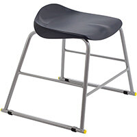 Titan High Backless Classroom Stool Size 3 445mm Seat Height (Ages: 6-8 Years) Polly Lipped Seat with Skid Base Charcoal T90-C - 5 Year Guarantee