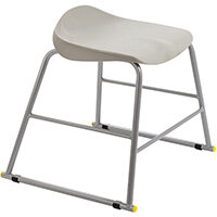 Titan High Backless Classroom Stool Size 3 445mm Seat Height (Ages: 6-8 Years) Polly Lipped Seat with Skid Base Grey T90-GR - 5 Year Guarantee