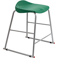 Titan High Backless Classroom Stool Size 4 560mm Seat Height (Ages: 8-11 Years) Polly Lipped Seat with Skid Base Green T91-GN - 5 Year Guarantee