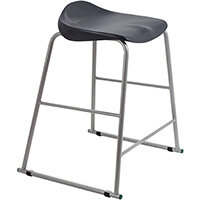 Titan High Backless Classroom Stool Size 5 610mm Seat Height (Ages: 11-14 Years) Polly Lipped Seat with Skid Base Charcoal T92-C - 5 Year Guarantee
