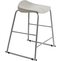 Titan High Backless Classroom Stool Size 5 610mm Seat Height (Ages: 11-14 Years) Polly Lipped Seat with Skid Base Grey T92-GR - 5 Year Guarantee