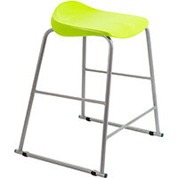 Titan High Backless Classroom Stool Size 5 610mm Seat Height (Ages: 11-14 Years) Polly Lipped Seat with Skid Base Lime T92-L - 5 Year Guarantee