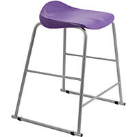 Titan High Backless Classroom Stool Size 5 610mm Seat Height (Ages: 11-14 Years) Polly Lipped Seat with Skid Base Purple T92-P - 5 Year Guarantee