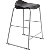 Titan High Backless Classroom Stool Size 6 685mm Seat Height (Ages: 14+ Years) Polly Lipped Seat with Skid Base Black T93-BK - 5 Year Guarantee