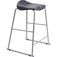 Titan High Backless Classroom Stool Size 6 685mm Seat Height (Ages: 14+ Years) Polly Lipped Seat with Skid Base Charcoal T93-C - 5 Year Guarantee