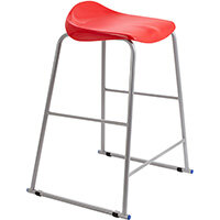 Titan High Backless Classroom Stool Size 6 685mm Seat Height (Ages: 14+ Years) Polly Lipped Seat with Skid Base Red T93-R - 5 Year Guarantee