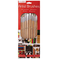 Work of Art Natural Bristle Artist Brushes Flat Tip Pack of 12 TAL06717