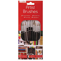 Work of Art Natural Bristle Artist Brushes Flat Tip Black Pack of 12 TAL06717