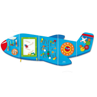 Multifunctional Aeroplane Wall Toy - 1800 x 662 x 50 mm - Educational, Learning and Sensory Toy - Colour: Blue