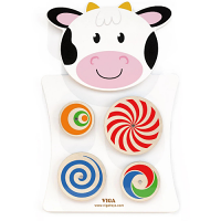 Wall Toy - Turning Patterns/Cow - Learn Hand-Eye Co-Ordination - 360 x 550 x 35 mm (L x H x W) - Educational Toy - Colour: Assorted