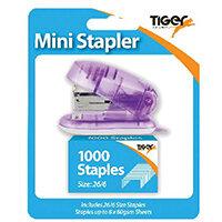 Tiger Mini 26/6 Stapler including 1000 Staples Pack of 6 301506