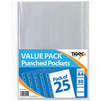 A4 Punched Pockets 30 Micron Pack of 375 301599