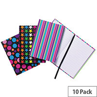 A6 Fashion Assorted Feint Ruled Casebound Notebooks Pack of 10 301642