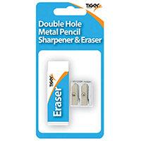 Tiger Eraser And Metal Double Hole Sharpener Set Pack of 12