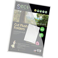 Stewart Superior Seco CutFlush Folder A4 Clear Pack of 25 LSF-CL/25