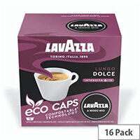 Lavazza Modo Mio LUNGO DOLCE COMPOSTABLE Eco Coffee Capsules Pack of 16 Pods (Min. Order Qty - 2)