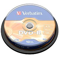 Verbatim DVD-R 16X Non-Printable Spindle Pack of 10 43523
